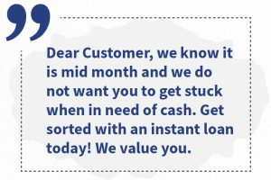 Emotive marketing messages to potential customers to persuade them to take loans