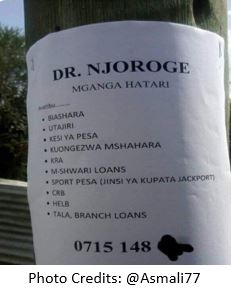 An advert from a local native doctor in Kenya