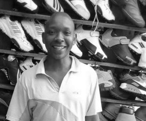 Stanley, trader who sells second-hand shoes in Nairobi.